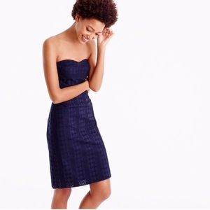 NWT J. Crew Strapless Eyelet Dress